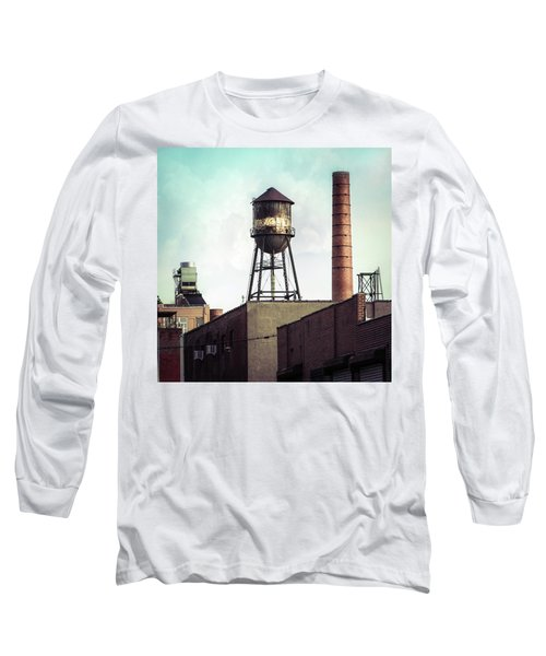 Long Sleeve T-Shirt featuring the photograph New York Water Towers 19 - Urban Industrial Art Photography by Gary Heller