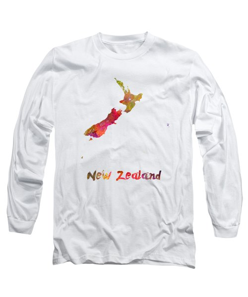 New Zealand In Watercolor Long Sleeve T-Shirt by Pablo Romero