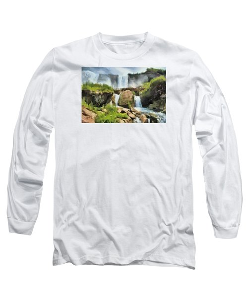 Niagara Falls Cave Of The Winds Long Sleeve T-Shirt by Charmaine Zoe