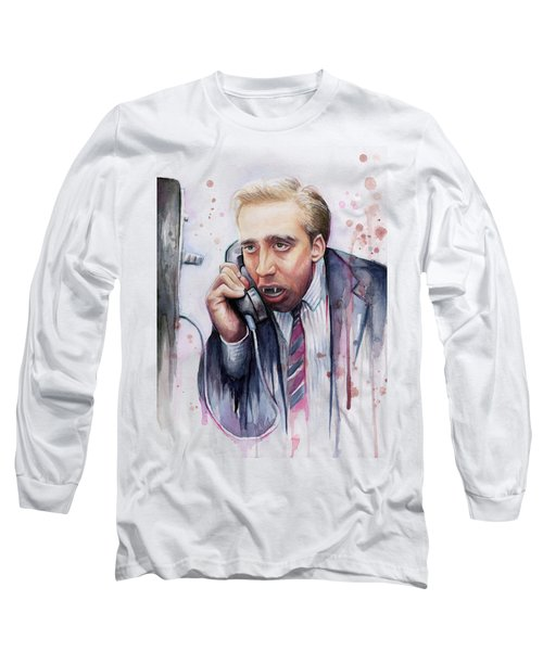 Nicolas Cage A Vampire's Kiss Watercolor Art Long Sleeve T-Shirt