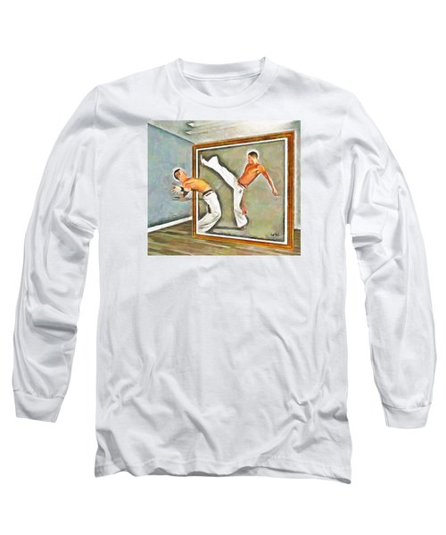 Long Sleeve T-Shirt featuring the painting Night At The Art Gallery - Martial Artists by Wayne Pascall