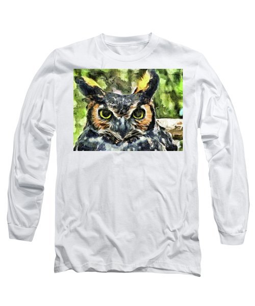 Long Sleeve T-Shirt featuring the mixed media Night Owl by Trish Tritz