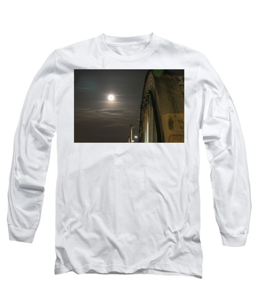 Night Shot Of The Los Angeles 6th Street Bridge And Supermoon #2 Long Sleeve T-Shirt