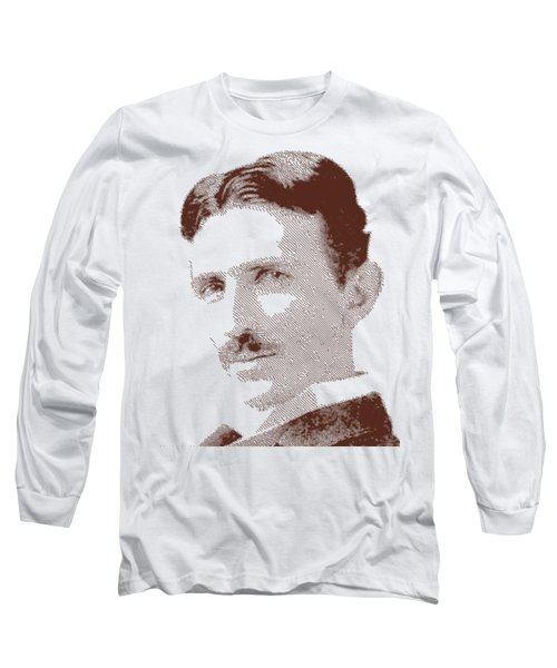 Nikola Tesla - Parallel Hatching Long Sleeve T-Shirt