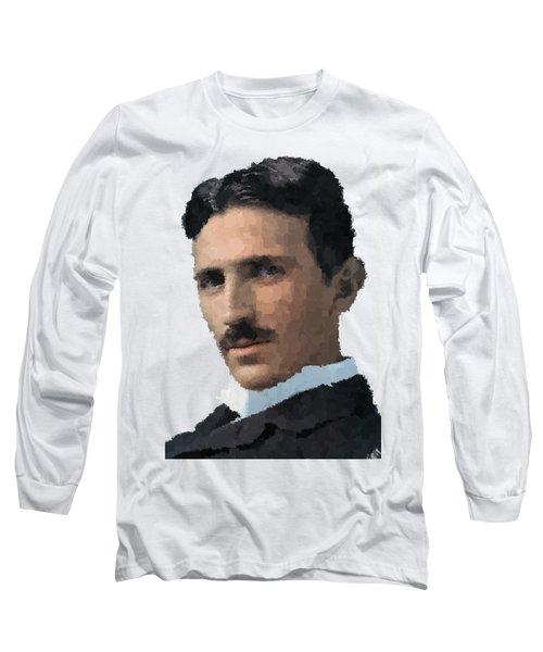 Nikola Tesla Portrait Long Sleeve T-Shirt