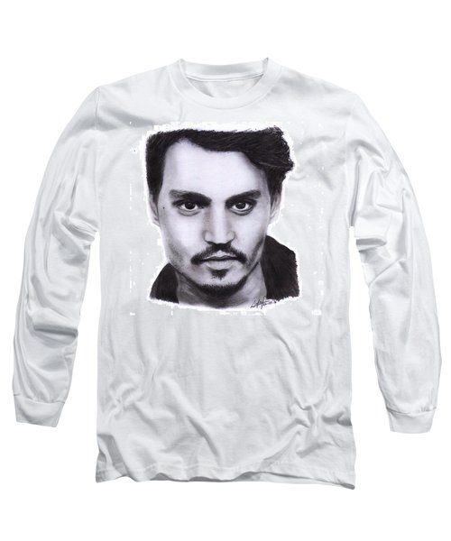 Johnny Depp Drawing By Sofia Furniel Long Sleeve T-Shirt