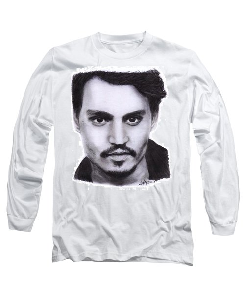 Johnny Depp Drawing By Sofia Furniel Long Sleeve T-Shirt