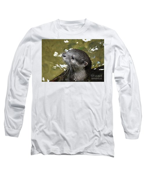North American River Otter Swimming In A River Long Sleeve T-Shirt