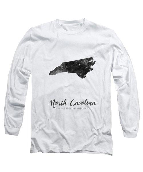 North Carolina State Map Art - Grunge Silhouette Long Sleeve T-Shirt