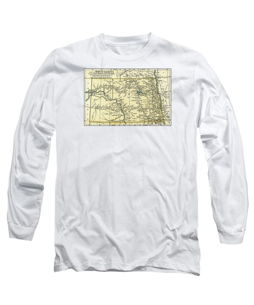 North Dakota Antique Map 1891 Long Sleeve T-Shirt