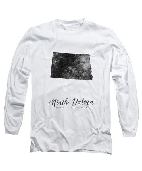 North Dakota State Map Art - Grunge Silhouette Long Sleeve T-Shirt