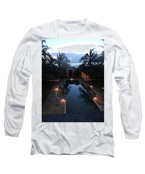 North - Eastern African Home - Sundown Over The Swimming Pool Long Sleeve T-Shirt by Exploramum Exploramum