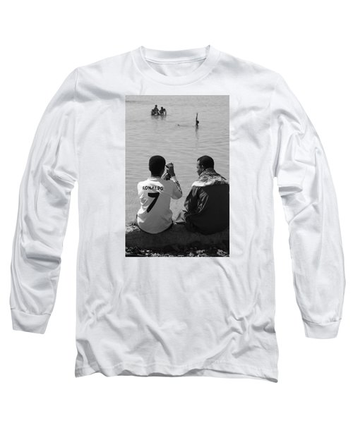 Long Sleeve T-Shirt featuring the photograph Not Waving But Drowning by Jez C Self