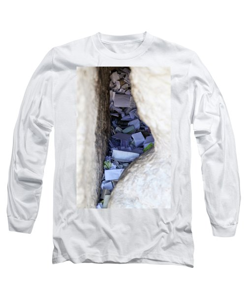 Notes In The Wailing Wall  Long Sleeve T-Shirt by Yoel Koskas