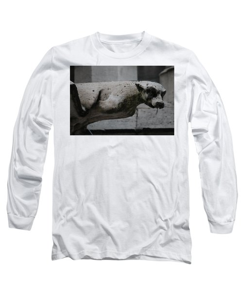 Long Sleeve T-Shirt featuring the photograph Notre Dame Bat Gargoyle by Christopher Kirby