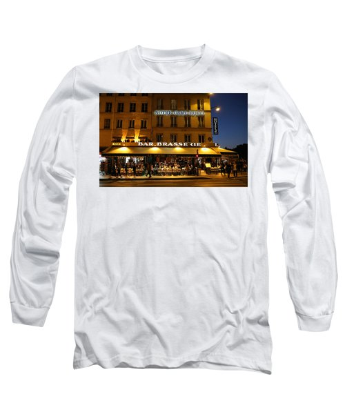 Long Sleeve T-Shirt featuring the photograph Notre Dame Cafe by Andrew Fare