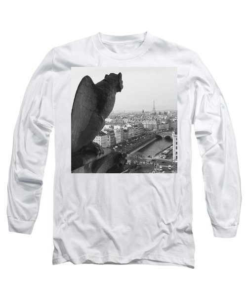 Long Sleeve T-Shirt featuring the photograph Notre Dame Gargoyle by Victoria Lakes
