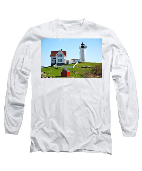 Nubble Lighthouse Long Sleeve T-Shirt by Eric Tressler