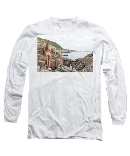 Nude Girl On Rocks Long Sleeve T-Shirt