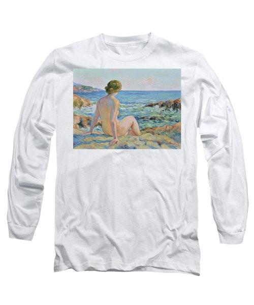 Nude On The Coast Monaco Long Sleeve T-Shirt by Pierre Van Dijk