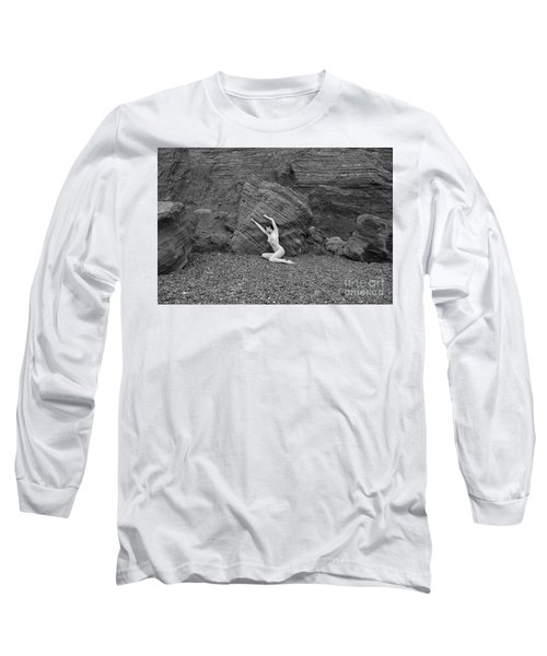 Nude Woman Pulling Shape By Rocks Long Sleeve T-Shirt
