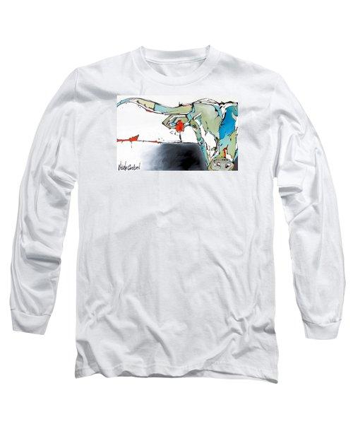 Number 17 Longhorn Steer Long Sleeve T-Shirt by Nicole Gaitan