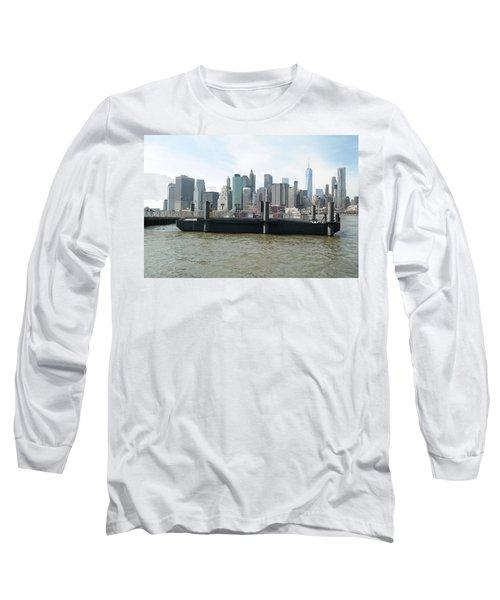Nyc Skyline Long Sleeve T-Shirt by Michael Paszek