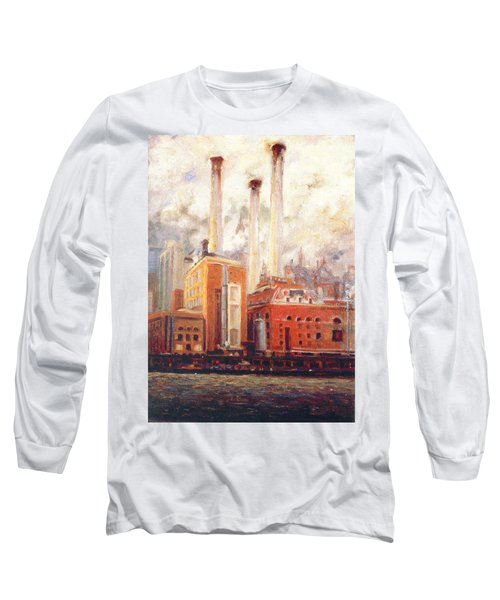 Nyc- View From East River  Long Sleeve T-Shirt by Walter Casaravilla