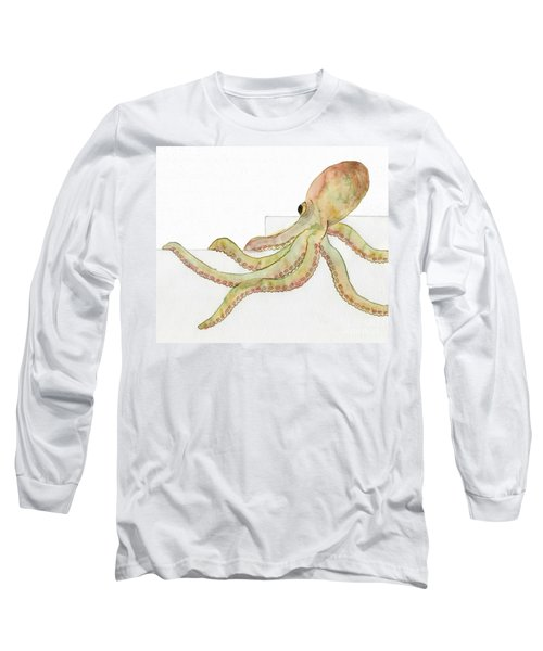 Long Sleeve T-Shirt featuring the painting Octopus by Annemeet Hasidi- van der Leij