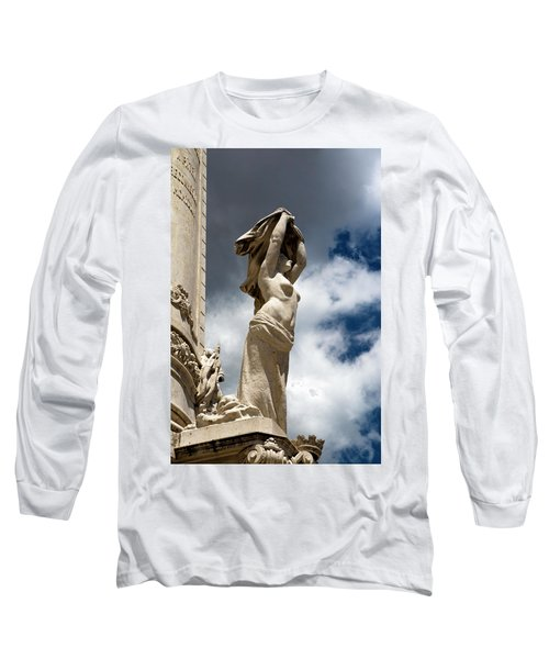 Long Sleeve T-Shirt featuring the photograph Of Shadow And Sky In Marquis De Pombal Square by Lorraine Devon Wilke
