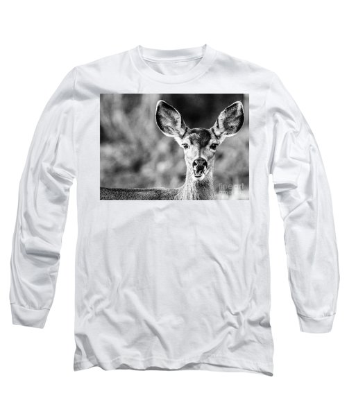 Oh, Deer, Black And White Long Sleeve T-Shirt