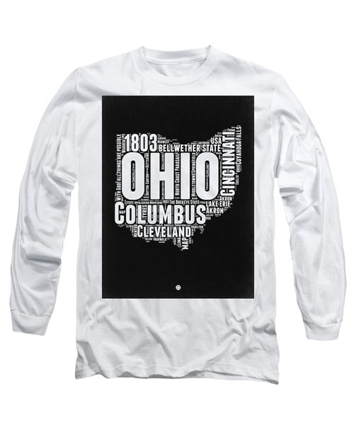 Ohio Black And White Word Cloud Map Long Sleeve T-Shirt