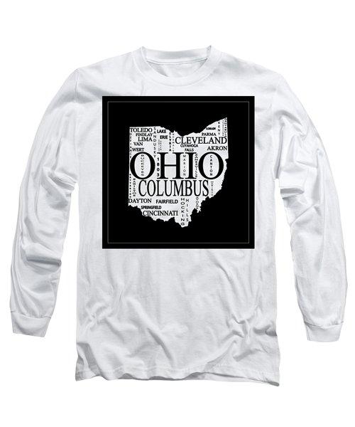Ohio City Typography Map Long Sleeve T-Shirt