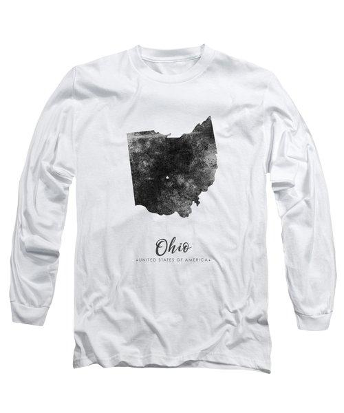 Ohio State Map Art - Grunge Silhouette Long Sleeve T-Shirt
