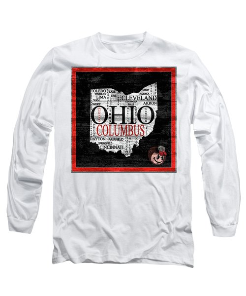 Ohio State Map Barn Door Long Sleeve T-Shirt
