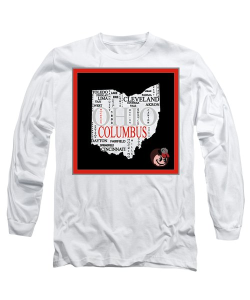 Ohio State Map Typography Long Sleeve T-Shirt