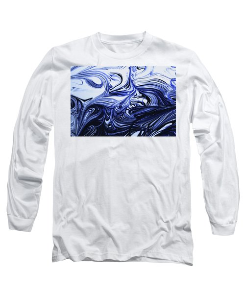 Oil Swirl Blue Droplets Abstract I Long Sleeve T-Shirt