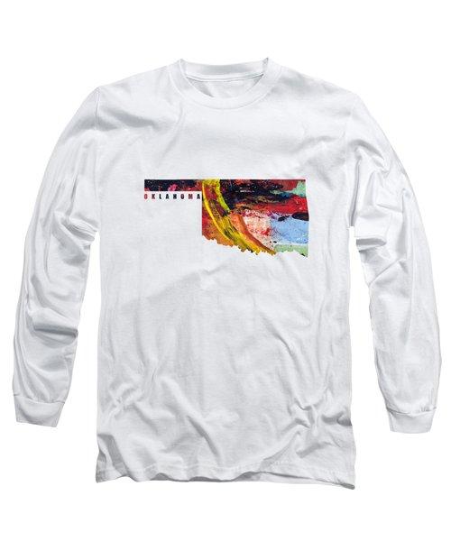 Oklahoma Map Art - Painted Map Of Oklahoma Long Sleeve T-Shirt