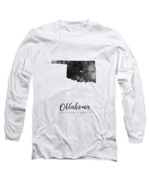 Oklahoma State Map Art - Grunge Silhouette Long Sleeve T-Shirt
