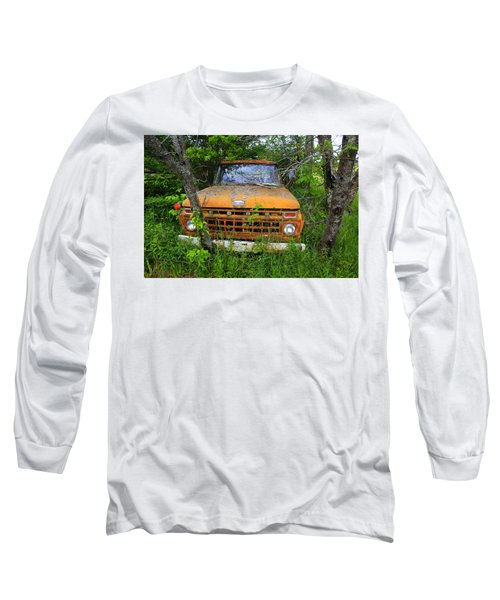 Old Abandoned Ford Truck In The Forest Long Sleeve T-Shirt