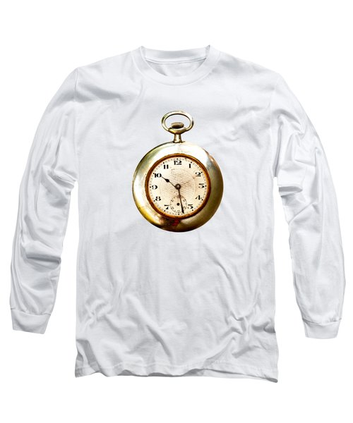 Old And Used Pocket Clock Om White Background Long Sleeve T-Shirt by Michal Boubin