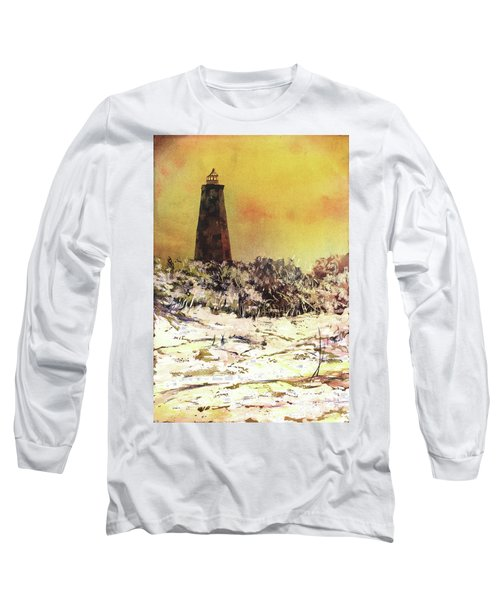 Long Sleeve T-Shirt featuring the painting Old Baldy Lighthouse- North Carolina by Ryan Fox