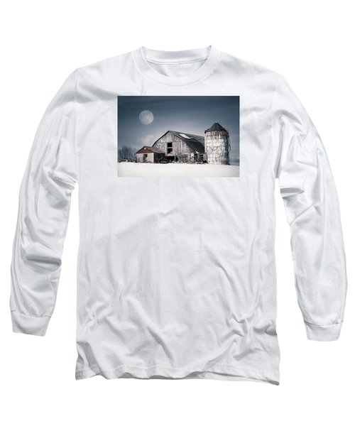 Old Barn And Winter Moon - Snowy Rustic Landscape Long Sleeve T-Shirt