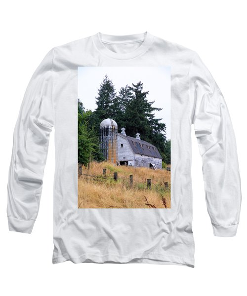Old Barn In Field Long Sleeve T-Shirt by Athena Mckinzie
