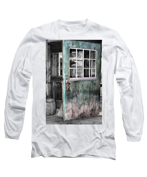 Rustic Blue - Green Door  Long Sleeve T-Shirt