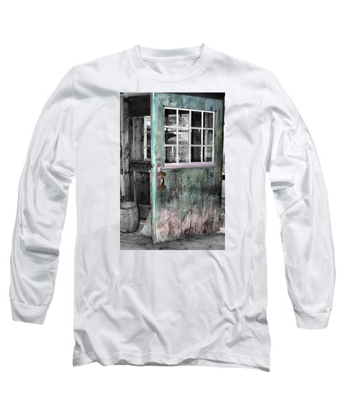 Rustic Blue - Green Door  Long Sleeve T-Shirt
