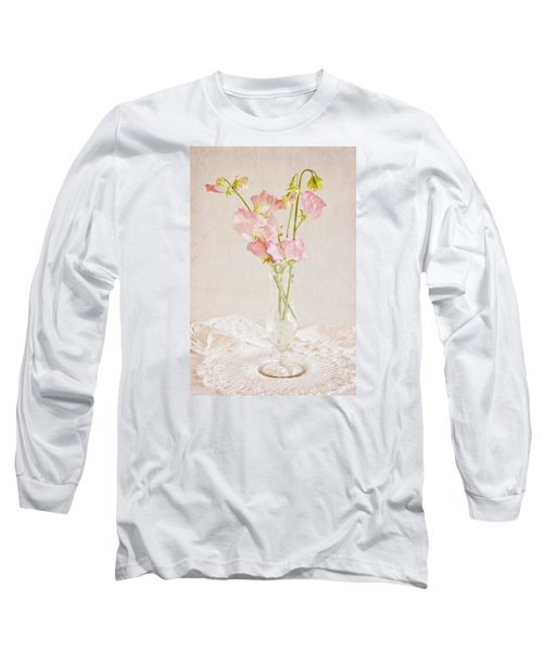 Old Fashioned Sweet Peas Long Sleeve T-Shirt by Sandra Foster