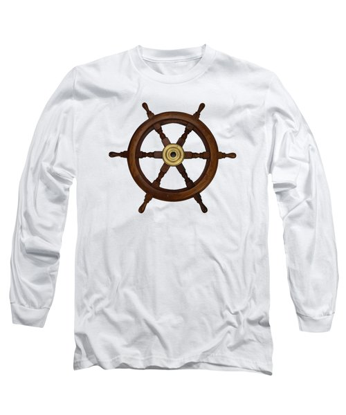 Old Oak Steering Wheel For Boats And Ships Long Sleeve T-Shirt by Tom Conway