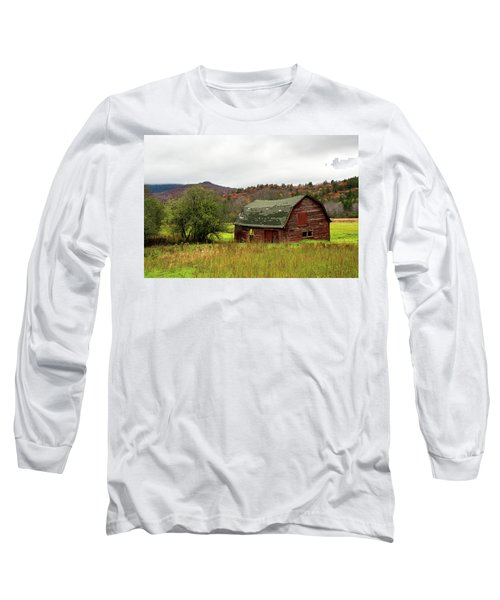 Long Sleeve T-Shirt featuring the photograph Old Red Adirondack Barn by Nancy De Flon