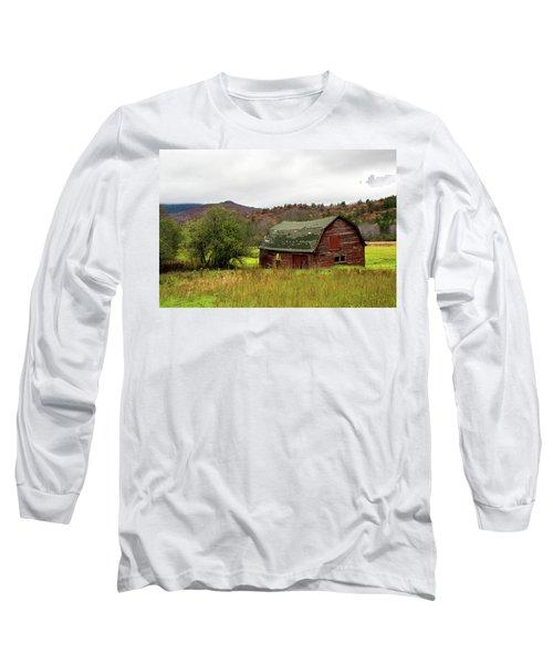 Old Red Adirondack Barn Long Sleeve T-Shirt by Nancy De Flon